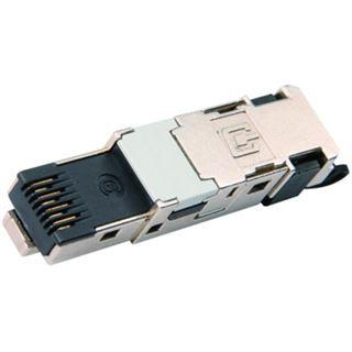 Telegärtner Stecker TP/RJ45 Feldkonfektionierbar CAT6 STX für Volldraht und Litze schwarz