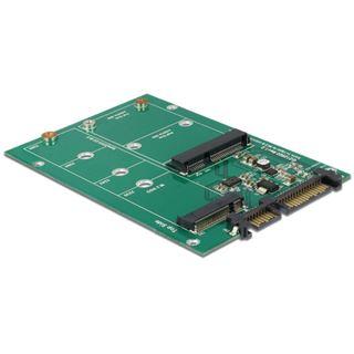 Delock Konverter SATA 22 Pin zu 1 x M.2 NGFF + 1 x mSATA
