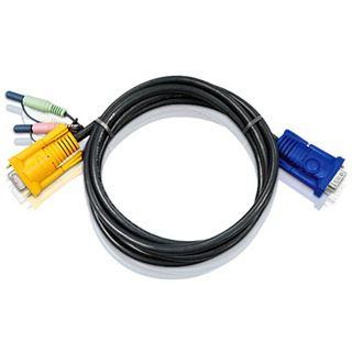 (€4,30*/1m) 3.00m ATEN Technology KVM Anschlusskabel VGA 15pol Stecker + 2x3.5mm Klinke Stecker auf SPHD 15pol Buchse Schwarz
