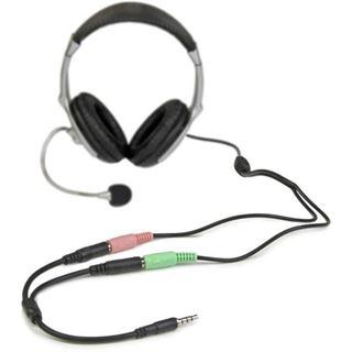 (€49,50*/1m) 0.20m Startech Audio Adapterkabel 3.5mm Klinken-Stecker auf 2x3.5mm Klinke Buchse Stereo Schwarz