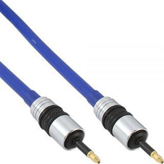 (€2,99*/1m) 10.00m InLine Audio Anschlusskabel Premium-Line 3.5mm Stecker auf 3.5mm Stecker Blau