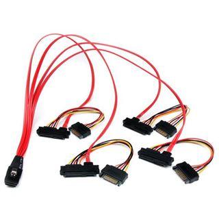 """(€71,80*/1m) 0.50m Startech SAS Anschlusskabel SFF-8087 Stecker auf 4xSFF-8482 + 5,25"""" Molex Strom Stecker Schwarz"""
