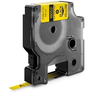 Dymo Heißschrumpfschlauch S0718270 / 18052 aus Polyolefin für Rhino Etikettendrucker, 6 mm x 1,5 m, für Durchmesser 1,18 - 2,33 mm, gelb