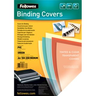 Fellowes Deckblatt, A4, grün-transparent, St�rke 200 my