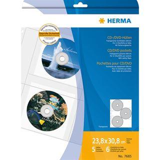 Herma CD-/DVD-Prospekthülle für 6 CD's, A4, 306,5 x 233 mm