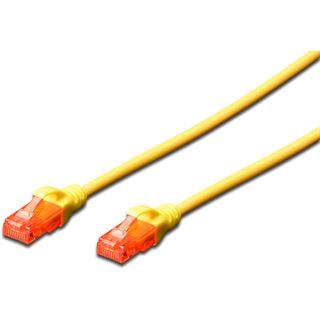 (€4,90*/1m) 1.00m Digitus Cat. 6 Patchkabel U/UTP RJ45 Stecker auf RJ45 Stecker Gelb Knickschutzelement