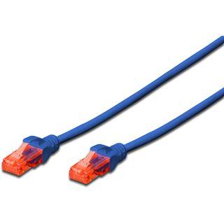 (€0,49*/1m) 10.00m Digitus Cat. 6 Patchkabel U/UTP RJ45 Stecker auf RJ45 Stecker Blau Knickschutzelement / PROFESSIONAL