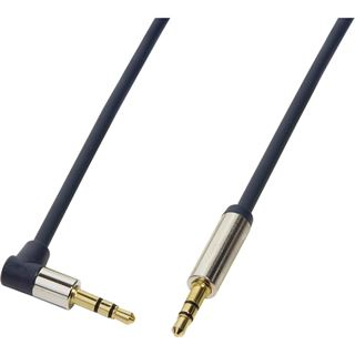 (€16,33*/1m) 0.30m LogiLink Audio Anschlusskabel gewinkelt 3.5mm Klinken-Stecker auf 3.5mm Klinken-Stecker Blau