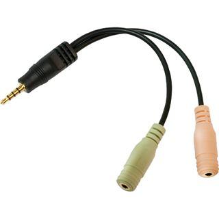 (€26,00*/1m) 0.15m LogiLink Audio Adapterkabel 3.5mm Klinken-Stecker auf 2x3.5mm Klinke Buchse Stereo Schwarz vergoldet