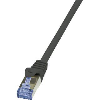 (€19,60*/1m) 0.25m LogiLink Cat. 6a Patchkabel S/FTP PiMF RJ45 Stecker auf RJ45 Stecker Schwarz halogenfrei / Twisted Pair