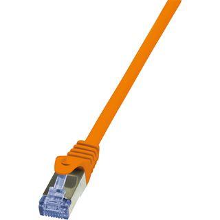 (€19,60*/1m) 0.25m LogiLink Cat. 7 Patchkabel S/FTP RJ45 Stecker auf RJ45 Stecker Orange Klinkenschutz / vergoldet