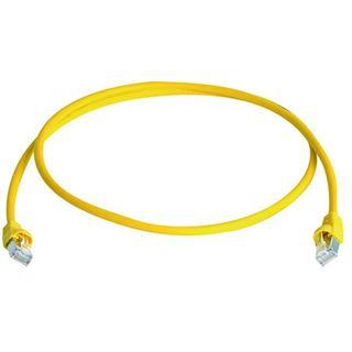 (€1,12*/1m) 50.00m Telegärtner Cat. 6a Patchkabel flach S/FTP PiMF RJ45 Stecker auf RJ45 Stecker Gelb halogenfrei