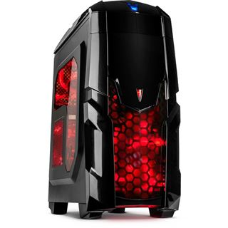 Inter-Tech Q2 Illuminator mit Sichtfenster Midi Tower ohne Netzteil schwarz/rot