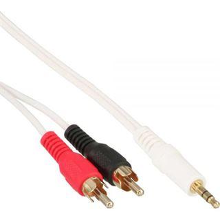 (€1,95*/1m) 2.00m InLine Audio Verbindungskabel 2xCinch Stecker auf 3.5mm Klinken-Stecker Weiß vergoldet