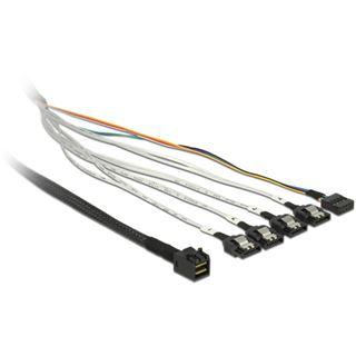 (€47,80*/1m) 0.50m Delock SAS Adapterkabel SFF-8643 Stecker auf 4xSATA Stecker Schwarz