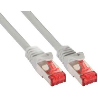 (€13,00*/1m) 0.30m InLine Cat. 6 Patchkabel S/FTP RJ45 Stecker auf RJ45 Stecker Grau Knickschutzelement / Rastnasenschutz