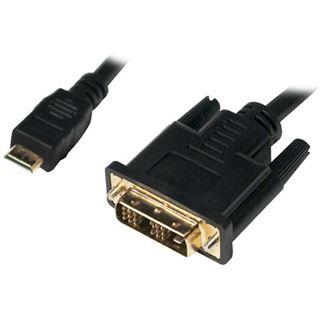 (€3,95*/1m) 2.00m LogiLink HDMI Adapterkabel Mini HDMI Stecker auf DVI 18+1 Stecker Schwarz vergoldet