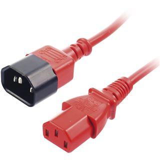2.00m Lindy IEC Verlängerungskabel Kaltgeräte Stecker C14 auf Kaltgeräte Buchse C13 Rot