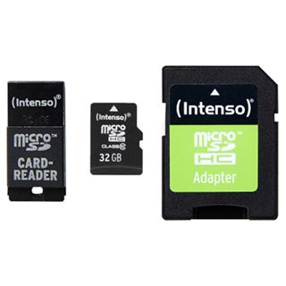 32 GB Intenso microSDHC Class 10 Retail inkl. USB-Adapter und Adapter auf SD