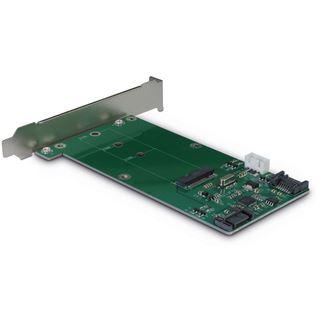 Inter-Tech Adapter KT023A, SATA zu M.2 SATA + SATA, Card