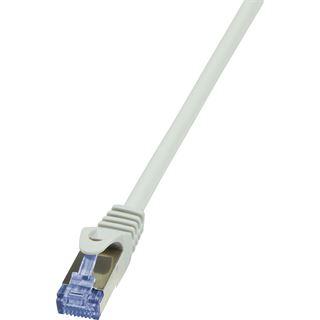(€6,90*/1m) 1.00m LogiLink Cat. 6a Patchkabel S/FTP PiMF RJ45 Stecker auf RJ45 Stecker Grau Knickschutzelement / Polybag