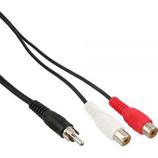 (€19,50*/1m) 0.20m InLine Audio Adapterkabel Cinch Stecker auf 2xCinch Buchse Schwarz