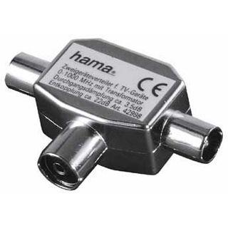Hama Koaxial Antennenverteiler Koax Buchse auf 2 Koax Stecker Silber