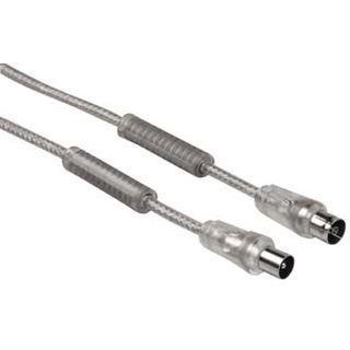 (€3,38*/1m) 5.00m Hama Antenne Anschlusskabel Koax Stecker auf Koax Buchse Silber doppelt geschirmt
