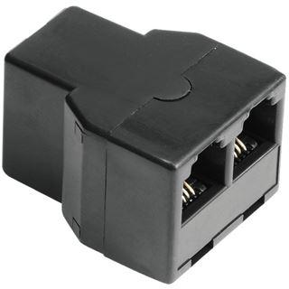 Hama Adapter 6p4c RJ11 Buchse auf 2xRJ11 Buchse Schwarz