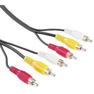 5.00m Hama Audio/Video Verbindungskabel 3xCinch Stecker auf 3xCinch Stecker Schwarz/Rot/Gelb/Weiß 75 Ohm