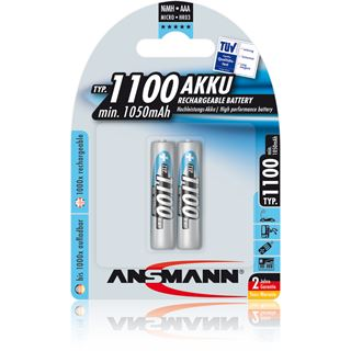 ANSMANN Akkus AAA / Micro Nickel-Metall-Hydrid 1100 mAh 2er Pack