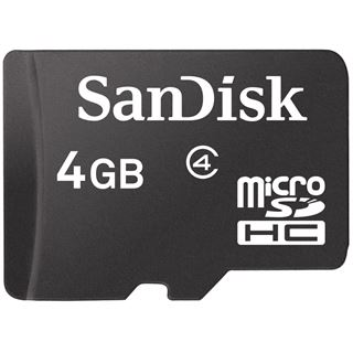 4 GB SanDisk Standard microSDHC Class 2 Bulk inkl. Adapter