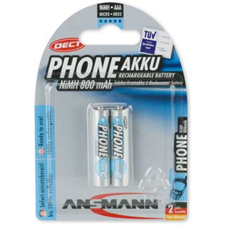 ANSMANN Phone Power Akku AAA / Micro Nickel-Metall-Hydrid 800 mAh 2er Pack