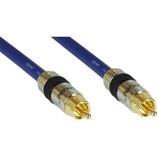 (€1,56*/1m) 7.00m InLine Audio Anschlusskabel Premium-Line Cinch Stecker auf Cinch Stecker Blau vergoldet
