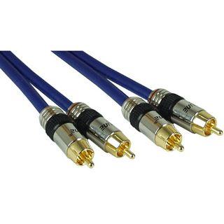 (€2,70*/1m) 7.00m InLine Audio Anschlusskabel Premium-Line 2xCinch Stecker auf 2xCinch Stecker Blau vergoldet