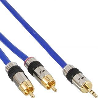 (€1,28*/1m) 25.00m InLine Audio Adapterkabel 3.5mm Klinken-Stecker auf 2xCinch Stecker Blau vergoldet