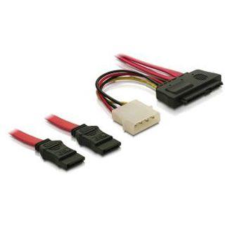 """(€15,80*/1m) 0.50m Delock SAS Adapterkabel 2xSATA Stecker auf SFF-8482 Stecker + 5,25"""" Molex Strom Stecker Schwarz"""