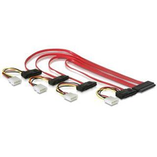 (€29,80*/1m) 0.50m Delock SAS Anschlusskabel SFF-8484 Stecker auf 4xSFF-8482 Schwarz