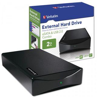 "HDE 2000GB Verbatim External Hard Drive 3.5"" (8.89cm) Schwarz USB2.0/eSATA"