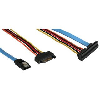 InLine SATA Anschlusskabel (gewinkelt unten) Daten- und Stromanschluss ca 50cm/15cm