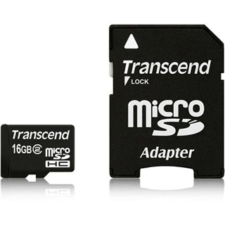 16 GB Transcend microSDHC Class 2 Retail inkl. Adapter