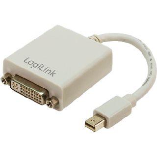 (€98,89*/1m) 0.09m LogiLink Displayport Adapterkabel Mini Displayport Stecker auf DVI 24+5 Buchse Weiß vergoldet