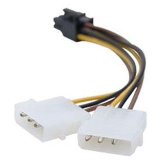 Club 3D Stromverbindungskabel für 2x Molex auf PCIe 6 Pol (CAC-2X4>6P)
