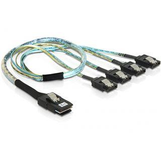 (€33,80*/1m) 0.50m Delock SAS Adapterkabel SFF-8087 Stecker auf 4xSATA Stecker Transparent mit Arretierung