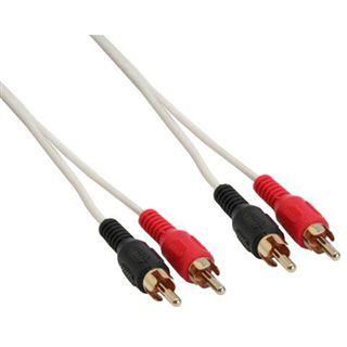 (€0,78*/1m) 5.00m InLine Audio Anschlusskabel 2xCinch Stecker auf 2xCinch Stecker Weiß vergoldet