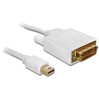 (€10,90*/1m) 1.00m Delock Displayport Adapterkabel Mini Displayport Stecker auf DVI 24+1 Stecker Weiß vergoldet