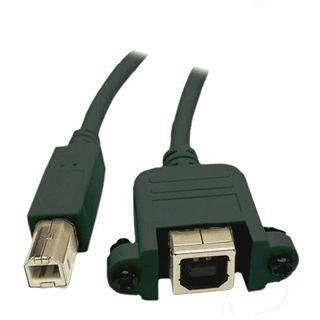 (€9,80*/1m) (€9,80*/1m) 0.50m USB2.0 Verlängerungskabel USB B Stecker auf USB B Buchse Schwarz Einbaubuchse