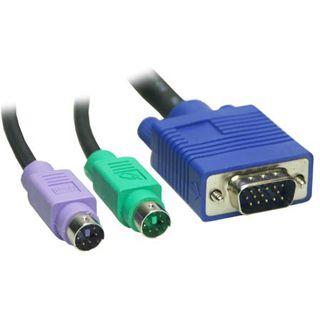 (€2,63*/1m) 3.00m Good Connections KVM Anschlusskabel VGA 15pol Stecker + 2xPS2 Stecker auf VGA 15pol Stecker + 2xPS2 Stecker Schwarz