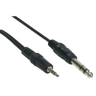 2m Audiokabel Klinke Stereo schwarz 3,5mm Stecker auf 6,3mm Stecker