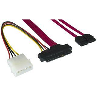 """0.50m Good Connections SAS 3Gb/s Anschlusskabel SFF-8482 Stecker + 5,25"""" Molex Strom Stecker auf 2xSATA Stecker Rot"""